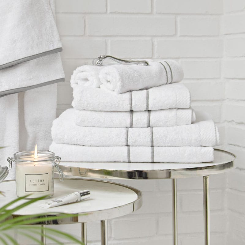 Toallas blancas algodon doble feston gris Lyba Textiles